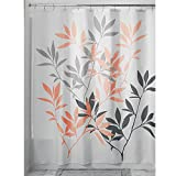 InterDesign Leaves Shower Curtain, 72 by 72-Inch, Gray/Coral