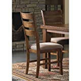Set of 2 Oak Finish Ladder Back Dining Chairs with Cushion