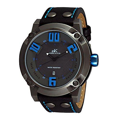 Adee Kaye Blitz AK7281-MIPG-GY-BU 58.26x50.15mm Stainless Steel Case Black Calfskin Mineral Men's Watch