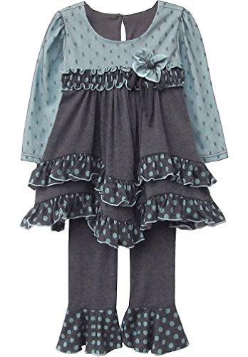 Isobella & Chloe Baby Girls' Caspian Sea Turquoise Grey Ruffle Pants 2-Pc Set, 12 Months