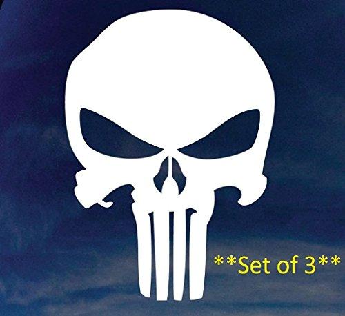 NI260 **3 Pack** Punisher Skull Car Window Vinyl Decal Sticker | 4