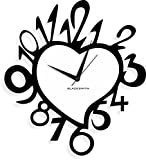 Blacksmith Aluminum Heart Stylized with Numbers Wall Clock (Black)