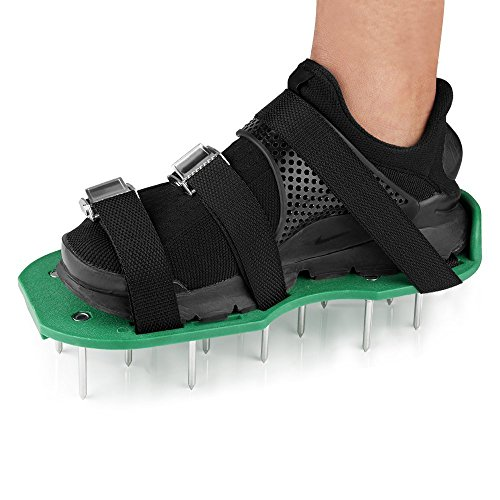 Lawn Aerator Shoes, XUZOU Punchau Lawn Aerator Shoes Aerating, Lawn Soil Sandals with 4 Aluminium Alloy Buckles, 4 Adjustable Straps, Aerating Your Lawn or Yard