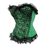 Bslingerie Womens Floral & Black Lace Trim Satin Boned Corset thumbnail
