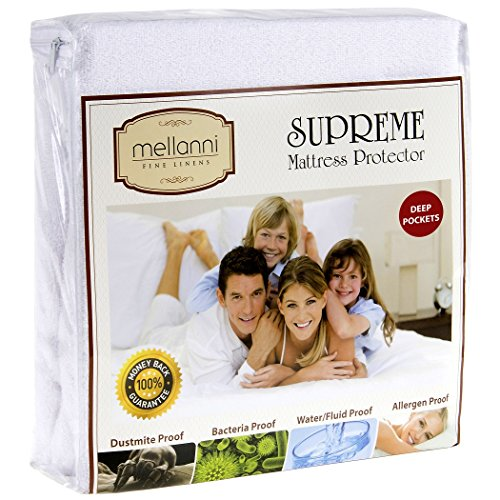 Mellanni Premium Waterproof Mattress Protector - Dust Mite, Bacteria Resistant - Hypoallergenic - Fitted Deep Pocket - Better than Pads, Covers or Toppers (Queen) (Hypo Allergenic Comforter Covers compare prices)
