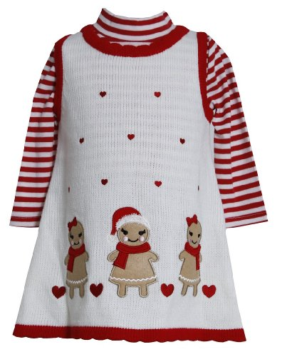 Bonnie Jean Baby Girls Gingerbread Holiday Jumper Dress Set, Red, 6-9M front-948005
