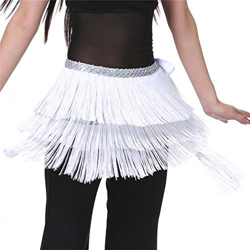 Dance Fairy Purple White Triangle Hip Scarf Belly Dance Shawl Girlfriend Gift