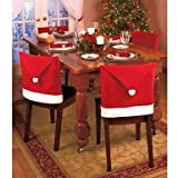 MK- 1Pcs Christmas Decorations Santa Red Hat Chair Back Covers