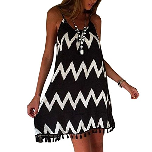 Fashion Black White Wavy Striped Spaghetti Strap Women Loose Tassel Summer Dress