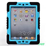 Latest Design Genuine Spider-man Survivor Extreme-Duty Military Case With Stand Wall/glass/wood attachable for Apple iPad 2 3 4 @XYG (4.Black/blue)