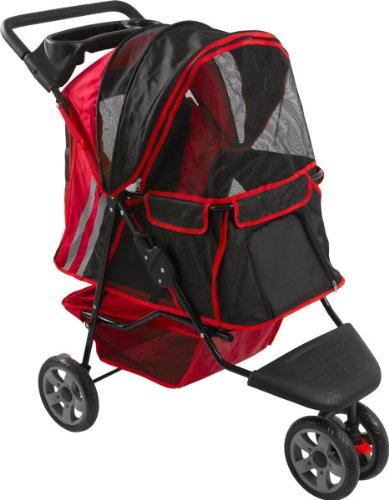 Red And Black Zephyr 3-Wheel Pet Jogging Stroller front-266581