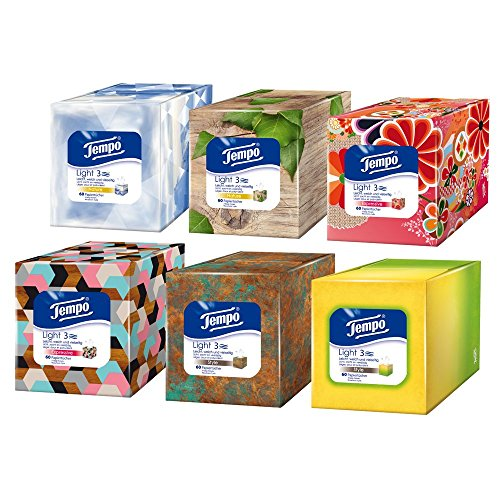"Tempo ""Lightbox"" fazzoletti, Würfelbox, 6er Pack (6 x 60 salviettine)"