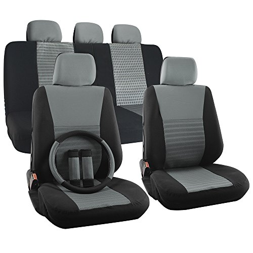 OxGord 17pc Set Flat Cloth Mesh Gray & Black Wide Stripe Seat Covers Set - Airbag Compatible - Front Low Back Buckets - 50/50 or 60/40 Rear Split Bench - 5 Head Rests - Universal Fit for Car, Truck, Suv, or Van - FREE Steering Wheel Cover (Saturn Ion Wheel Cover compare prices)