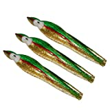 5.5 Inch Squid Octopus Skirt - Green & Gold Extreme Sparkle with Red Stripe (3 Skirts)