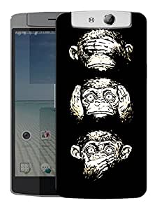 """Humor Gang 49 Monkeys Printed Designer Mobile Back Cover For """"Oppo N1"""" (3D, Matte, Premium Quality Snap On Case)"""