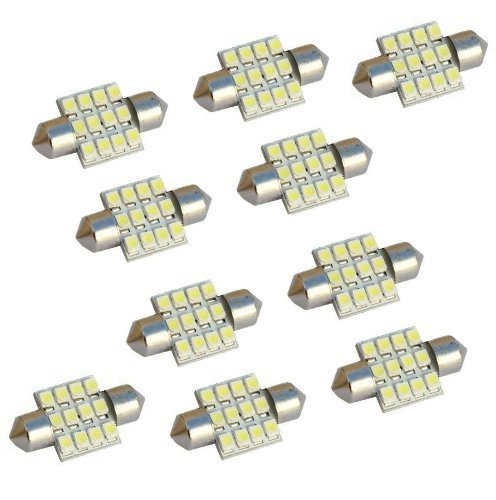 10pcs 31mm 12SMD 3528 LED White Festoon Dome Interior Light Map Door Lamp Car Bulbs 3021 3022 DE3175 (Bulb Led Car compare prices)