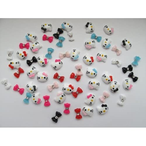 Nail Art 3d 55 Pieces Mix Color Hello Kitty/Bow /Rhinestone for Nails, Cellphones