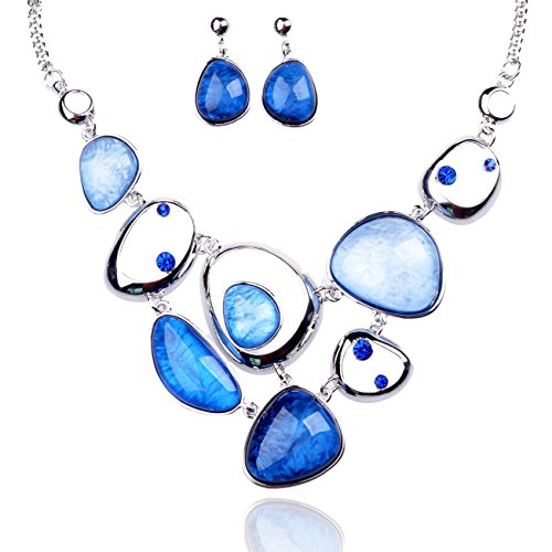 Tagoo Cute Jewelry Set Resin Crystal Rhinestone Pendant Necklace Earrings For Womens&Girls Bridal Party(Multi Colors)