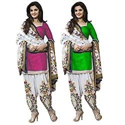 Janasya Women's Unstitched Polyester Dress Material COmbo (Pink & Green)