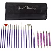 Nail Art Brushes, Dotting Pens Marbling Detailing Painting Tools 20pc Kit Set With Roll-Up Pouch - FREE EBook...