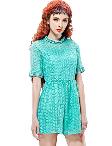 Elf Sack Womens Summer Dress Stand Collar Short Sleeve Embroidery Organza Bead Large Size