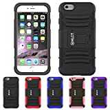 iPhone 6S Plus Case, iPhone 6 Plus Case, HLCT Rugged Shock Proof Dual-Layer Case with Built-In Kickstand (Black)