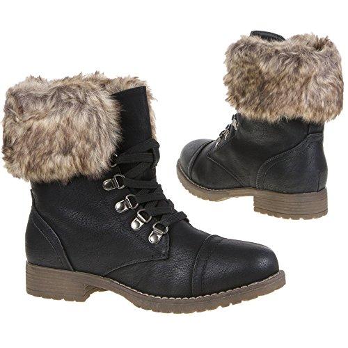 Damen Schuhe Stiefelette Schwarz Gr. 39 Schnürschuhe Khaki Gr. 40 Stiefel Abnehmbares Fell Damenstiefel Schnürstiefelette (39, Schwarz)