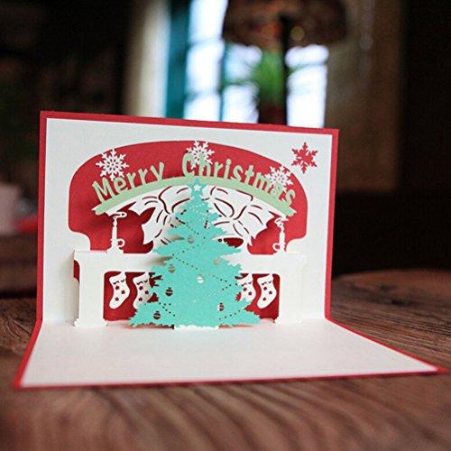 Pixnor 2pcs Saltar Navidad 3D tarjetas de regalo tarjeta de felicitación