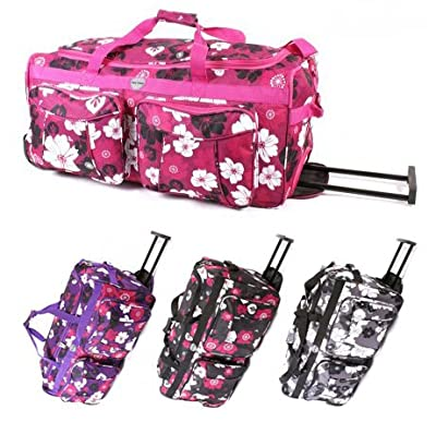"Womens Girls Floral Flowers Hand Luggage Maternity Gym Wheeled Travel Bag (Black/Grey/Pink/Purple) (18"", 20"", 26"", 30"")"