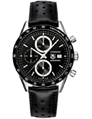Men's Stainless Steel Carrera Automatic Black Dial Chronograph Strap