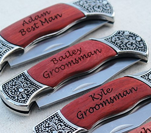 Customized Rosewood Handle Pocket Folding Knife with 2 Lines of Engraving - Wedding Groomsmen Gift - Personalized Monogrammed and Engraved for Free (Personalized Pocket Knife compare prices)