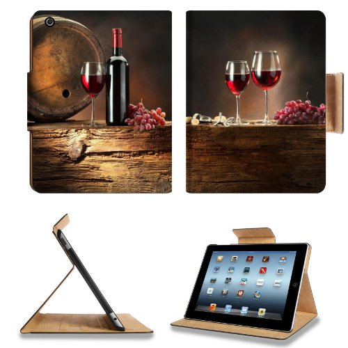 Wine Grapes Drink Cask Wine Glasses Bottle Apple Ipad 2Nd 3Rd 4Th Flip Case Stand Smart Magnetic Cover Open Ports Customized Made To Order Support Ready Premium Deluxe Pu Leather 9 7/8 Inch (250Mm) X 7 7/8 Inch (200Mm) X 5/8 Inch (17Mm) Liil Ipad Professi front-771174