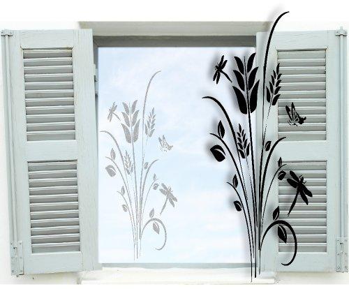Fenstertattoo ~ Pflanze, Baum, Blumenranke mit Schmetterling ~ glas018-55x80 cm 600050 Aufkleber für Fenster, Glastür und Duschtür aus Glas, Fensterbild, wasserfeste Glasdekorfolie in Sandstrahl - Milchglas Optik