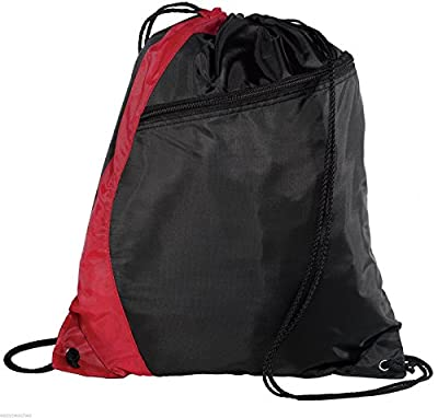 Bags for You - Red Black Two Tone Drawstring Backpack Bag (Zippered Front Design) Gymsack Sackpack Cinch Sack Backpack for Unisex Sports Activity As Soccer Shoes Exercise Futsal Swimming Running Sqash Tennis Badminton Yoga Bikes or Backpack Relax on the P