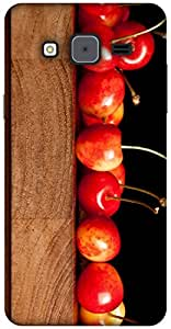 The Racoon Grip printed designer hard back mobile phone case cover for Samsung Galaxy On7. (cherries)