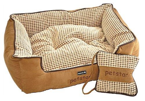 Hundebett-Liegebett-Camelot-braun-gemustert-wrmend-extra-Kissen-in-Knochenform-fr-Hunde-und-Katzen-Gr-M-77x62-cm