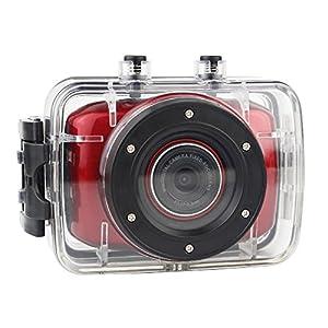 SMARTEX - Caméra action sport HD 720p mini caméra sous-marine écran tactile étanche, casque de moto et de VTT, chasse, surf, aviron, parachutisme, pro sub, plongée, airsoft, go cart voiture, snowboard, sports extrêmes, couleur rouge