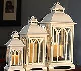 3pc Set of Outdoor Patio Lanterns - Antique White