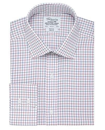 tmlewin-mens-non-iron-check-slim-fit-button-cuff-shirt-navy-red-155
