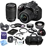 Nikon D5300 24.2 MP CMOS Digital SLR Camera With Nikon 18-55mm f/3.5-5.6G VR II AF-S DX NIKKOR Lens + Nikon AF Zoom Nikkor 70-300mm f/4-5.6G Lens + CS Pro Lens Package: Includes High Speed 64GB SDXC Memory Card, SD Card Reader, Extended Life Nikon ENEL14 Replacement Battery, High Definition Wide Angle Lens With Macro, 2x Telephoto HD Lens, 4 Piece Macro Lens Close-up Set (Diopters +1+2+4+10), 3 Piece High Resolution Filter Kit (UV,CPL,FLD), High Resolution UV Filter, Tulip Lens Hood, Cap Keeper, Professional Carrying Case, Cleaning Pen, Starters Kit & CS Microfiber Cleaning Cloth