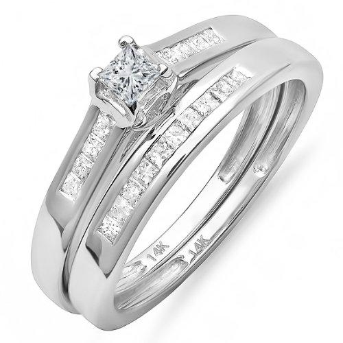 0.55 Carat (ctw)14k White Gold Princess Diamond Ladies Bridal Ring Engagement Matching Band Set
