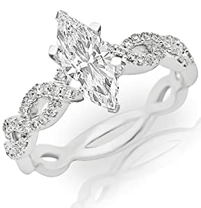 0.85 Carat Marquise Cut / Shape 14K White Gold Eternity Love Twisting Split Shank Diamond Engagement Ring ( H-I Color , SI1 Clarity )