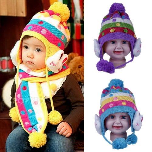Eozy 激安2色セット 可愛い兎ラビットデザイン 水玉柄 ケーブル編みボンボンニット帽 耳あてニット帽 マフラー付き 1ー10歳子供、キッズ、ベビーに