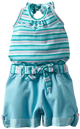 Little Lass Baby-girls Infant 1 Piece Romper With Cute Stripes, Turquoise, 24 Months