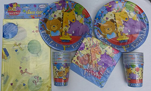 Baby's 1st Birthday Teddy Bear Giraffe Elephant Celebration Theme Plates Cups Napkins and Tablecover (Teddy Bear Theme compare prices)