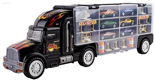 WolVol Transport Car Carrier Truck Toy for Boys (includes 6 cars and 28 slots) (Hot Wheels Semi Truck compare prices)