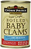 Natural Wild Caught Boiled Baby Clams - Crown Prince brand, 10-Ounce Cans (Pack of 12) Image