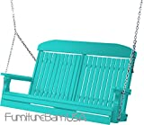 Outdoor Polywood 4 Foot Porch Swing - Classic Highback Design *ARUBA BLUE* Color