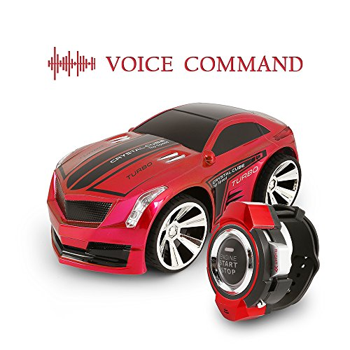 SainSmart Jr. VC-03 Voice Command Car, Rechargeable Radio Control by Smart Watch, Creative Voice-activated RC Car, Dazzling Headlights and Cool Brakes, Red (Demo Derby Cars compare prices)