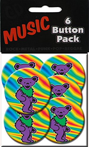 "C&D Visionary Grateful Dead Purple Bear 1.25"" Button (6-Piece)"